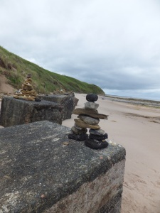 Inukshuk on WWII concrete blocks