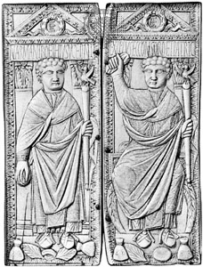 This is a near-contemporary ivory diptych of Boethius